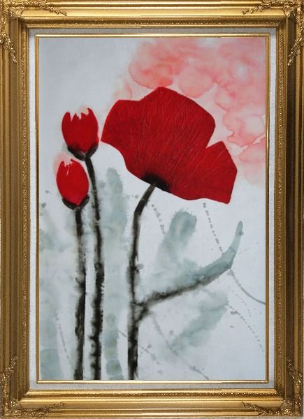 Framed Modern Red Flower Blooming Oil Painting Gold Wood Frame with Deco Corners 43 x 31 Inches