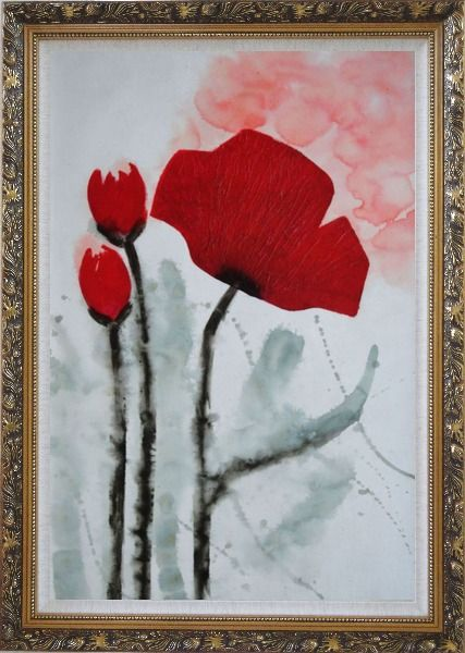 Framed Modern Red Flower Blooming Oil Painting Ornate Antique Dark Gold Wood Frame 42 x 30 Inches