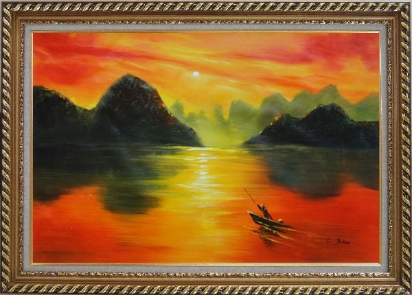 Framed Small Boat at Amazing Red Sunset Oil Painting Landscape River Modern Exquisite Gold Wood Frame 30 x 42 Inches