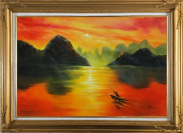 Framed Small Boat at Amazing Red Sunset Oil Painting Landscape River Modern Gold Wood Frame with Deco Corners 31 x 43 Inches