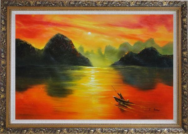 Framed Small Boat at Amazing Red Sunset Oil Painting Landscape River Modern Ornate Antique Dark Gold Wood Frame 30 x 42 Inches