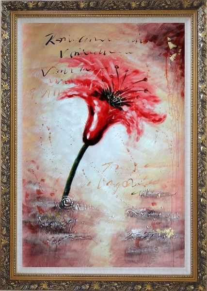 Framed Modern Red Blooming Flower in Wind Oil Painting Ornate Antique Dark Gold Wood Frame 42 x 30 Inches