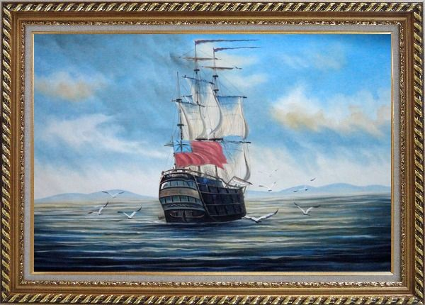 Framed Sailing Warship On Blue Sea Oil Painting Boat Classic Exquisite Gold Wood Frame 30 x 42 Inches