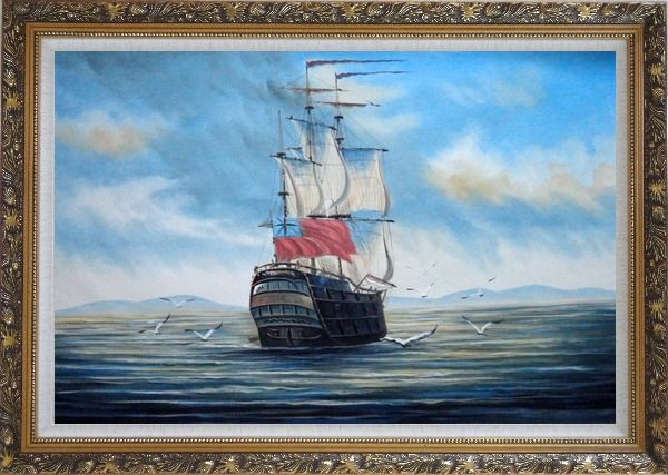 Framed Sailing Warship On Blue Sea Oil Painting Boat Classic Ornate Antique Dark Gold Wood Frame 30 x 42 Inches