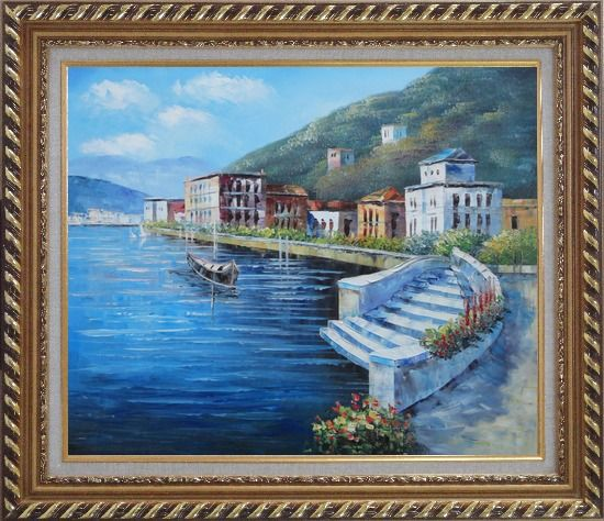 Framed Terrace of Luxury Villa, Italy Oil Painting Mediterranean Naturalism Exquisite Gold Wood Frame 26 x 30 Inches
