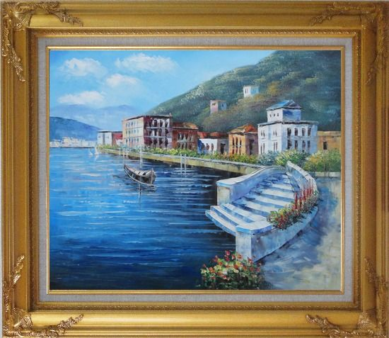 Framed Terrace of Luxury Villa, Italy Oil Painting Mediterranean Naturalism Gold Wood Frame with Deco Corners 27 x 31 Inches