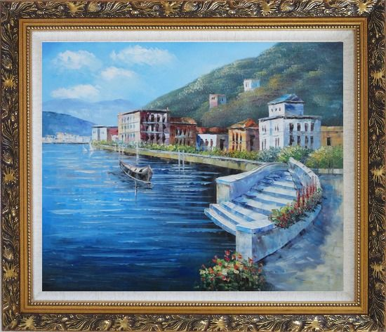 Framed Terrace of Luxury Villa, Italy Oil Painting Mediterranean Naturalism Ornate Antique Dark Gold Wood Frame 26 x 30 Inches