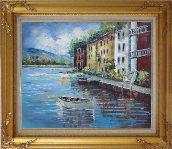 Framed Village View of Mediterranean Sea Oil Painting Naturalism Gold Wood Frame with Deco Corners 27 x 31 Inches