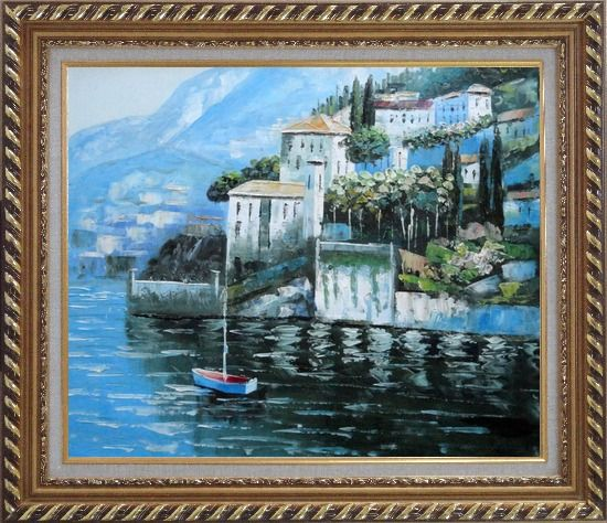 Framed Beautiful Mountainside Coast Mediterranean Oil Painting Naturalism Exquisite Gold Wood Frame 26 x 30 Inches