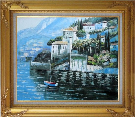 Framed Beautiful Mountainside Coast Mediterranean Oil Painting Naturalism Gold Wood Frame with Deco Corners 27 x 31 Inches