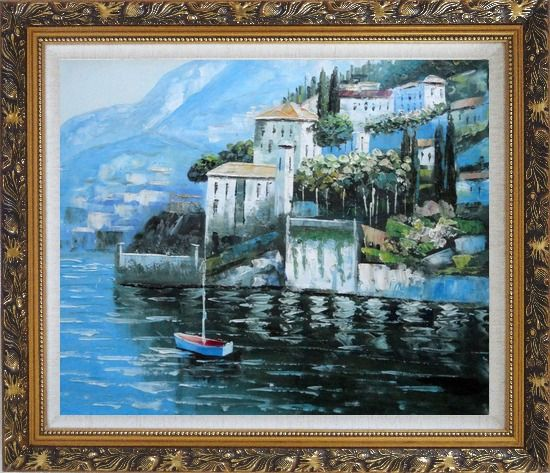 Framed Beautiful Mountainside Coast Mediterranean Oil Painting Naturalism Ornate Antique Dark Gold Wood Frame 26 x 30 Inches