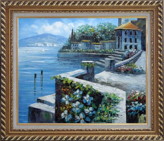 Framed View from Terrace of Villa Oil Painting Mediterranean Naturalism Exquisite Gold Wood Frame 26 x 30 Inches