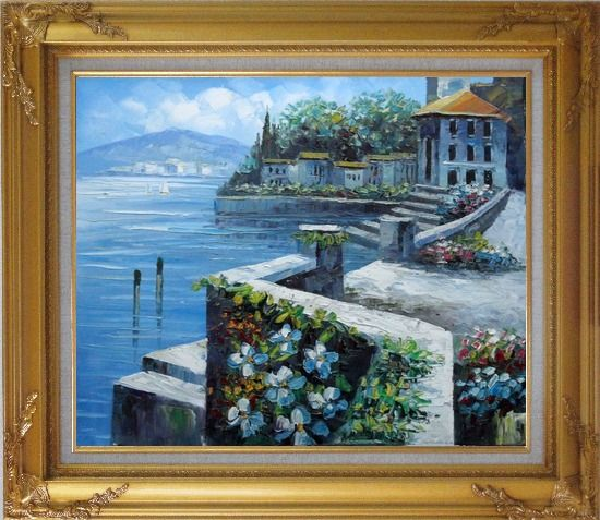 Framed View from Terrace of Villa Oil Painting Mediterranean Naturalism Gold Wood Frame with Deco Corners 27 x 31 Inches