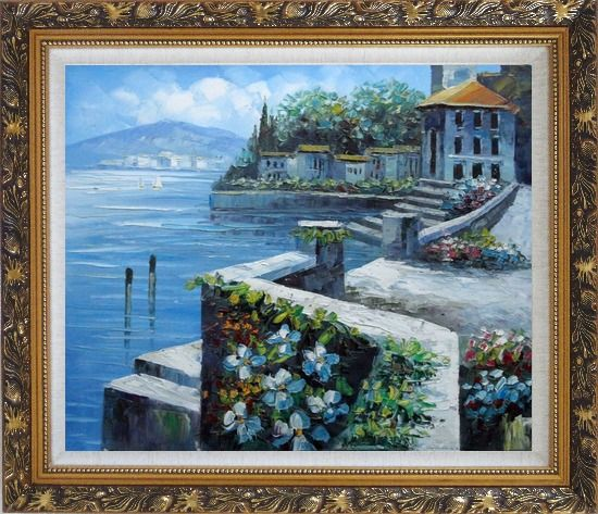 Framed View from Terrace of Villa Oil Painting Mediterranean Naturalism Ornate Antique Dark Gold Wood Frame 26 x 30 Inches