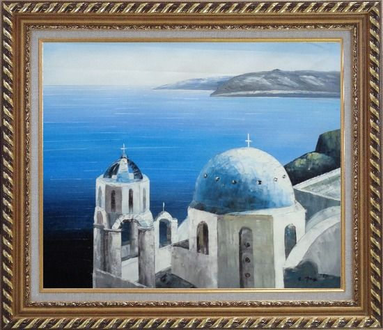 Framed The Churches and Ocean of Santorini Oil Painting Mediterranean Naturalism Exquisite Gold Wood Frame 26 x 30 Inches