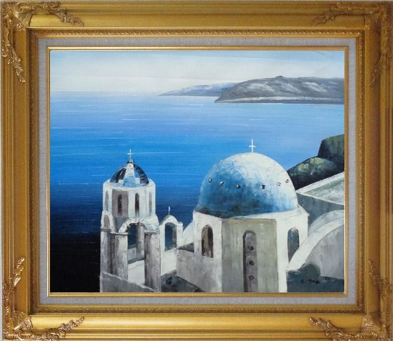 Framed The Churches and Ocean of Santorini Oil Painting Mediterranean Naturalism Gold Wood Frame with Deco Corners 27 x 31 Inches
