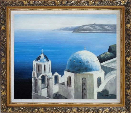Framed The Churches and Ocean of Santorini Oil Painting Mediterranean Naturalism Ornate Antique Dark Gold Wood Frame 26 x 30 Inches