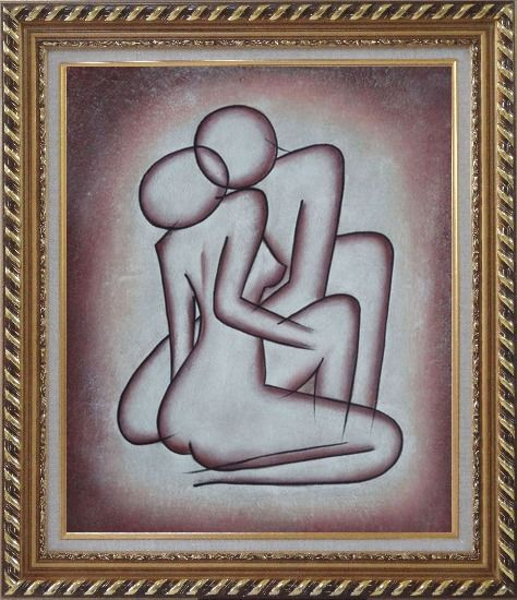 Framed Kissing Nude Couple in Brown Oil Painting Portraits Modern Exquisite Gold Wood Frame 30 x 26 Inches