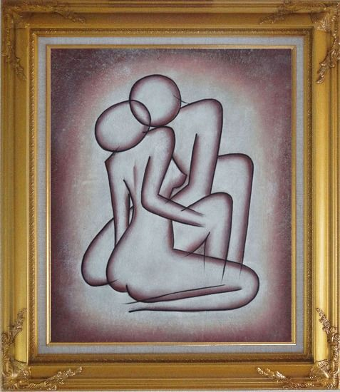Framed Kissing Nude Couple in Brown Oil Painting Portraits Modern Gold Wood Frame with Deco Corners 31 x 27 Inches