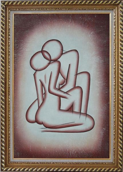 Framed Kissing Nude Couple in Brown Oil Painting Portraits Modern Exquisite Gold Wood Frame 42 x 30 Inches