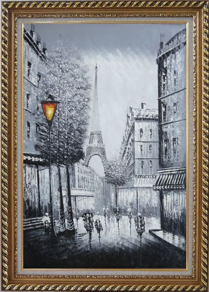 Framed People Walk on Paris Street to Eiffel Tower, Black and White Oil Painting Cityscape Impressionism Exquisite Gold Wood Frame 42 x 30 Inches