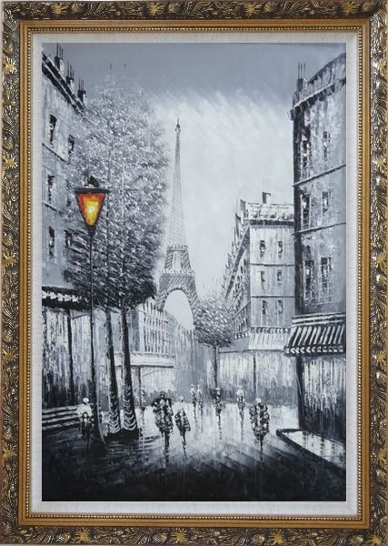 Framed People Walk on Paris Street to Eiffel Tower, Black and White Oil Painting Cityscape Impressionism Ornate Antique Dark Gold Wood Frame 42 x 30 Inches