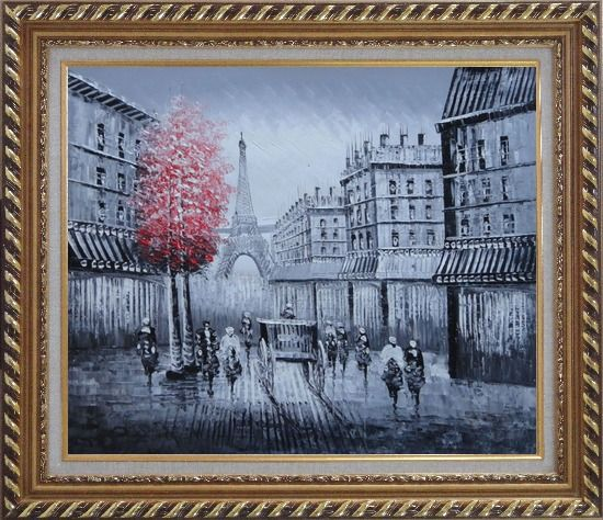 Framed Paris Street to Eiffel Tower Black and White Oil Painting Cityscape Impressionism Exquisite Gold Wood Frame 26 x 30 Inches