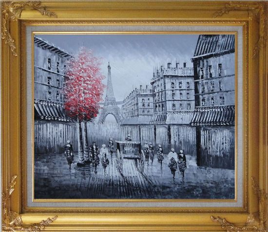 Framed Paris Street to Eiffel Tower Black and White Oil Painting Cityscape Impressionism Gold Wood Frame with Deco Corners 27 x 31 Inches