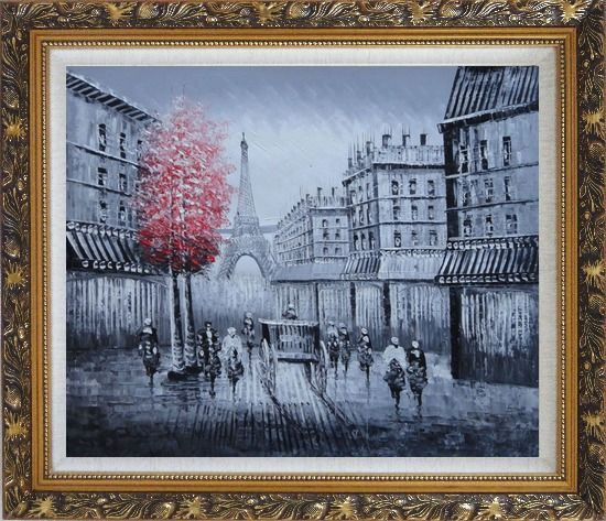 Framed Paris Street to Eiffel Tower Black and White Oil Painting Cityscape Impressionism Ornate Antique Dark Gold Wood Frame 26 x 30 Inches