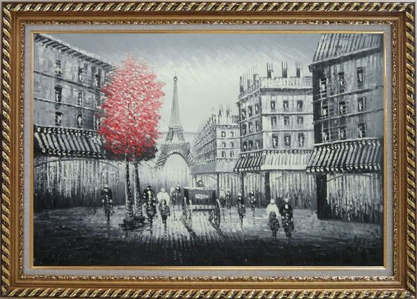 Framed Paris Street to Eiffel Tower Black and White Oil Painting Cityscape Impressionism Exquisite Gold Wood Frame 30 x 42 Inches