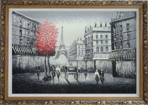 Framed Paris Street to Eiffel Tower Black and White Oil Painting Cityscape Impressionism Ornate Antique Dark Gold Wood Frame 30 x 42 Inches