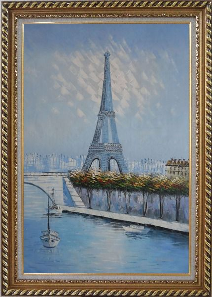 Framed Eiffel Tower, Boats and Banks of Seiner River Oil Painting Cityscape France Impressionism Exquisite Gold Wood Frame 42 x 30 Inches