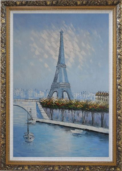 Framed Eiffel Tower, Boats and Banks of Seiner River Oil Painting Cityscape France Impressionism Ornate Antique Dark Gold Wood Frame 42 x 30 Inches