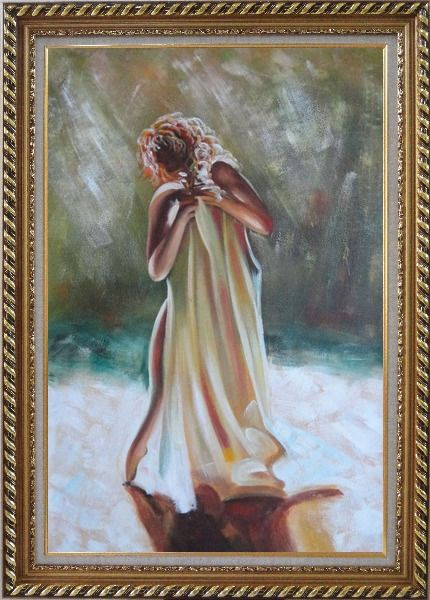 Framed Dancing Nude Wrapped with Sheet Oil Painting Portraits Woman Impressionism Exquisite Gold Wood Frame 42 x 30 Inches