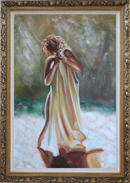 Framed Dancing Nude Wrapped with Sheet Oil Painting Portraits Woman Impressionism Ornate Antique Dark Gold Wood Frame 42 x 30 Inches