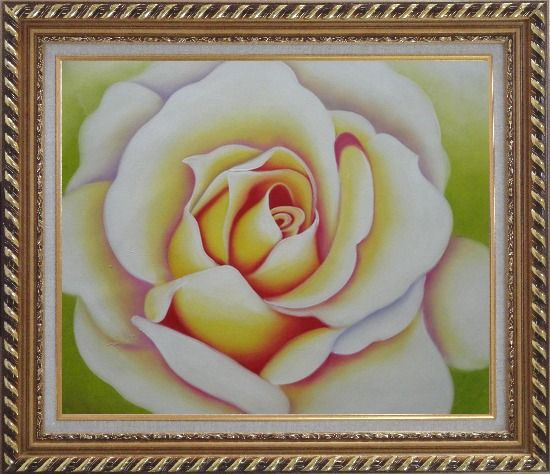 Framed  Pink Rose Bud Oil Painting Flower Naturalism Exquisite Gold Wood Frame 26 x 30 Inches