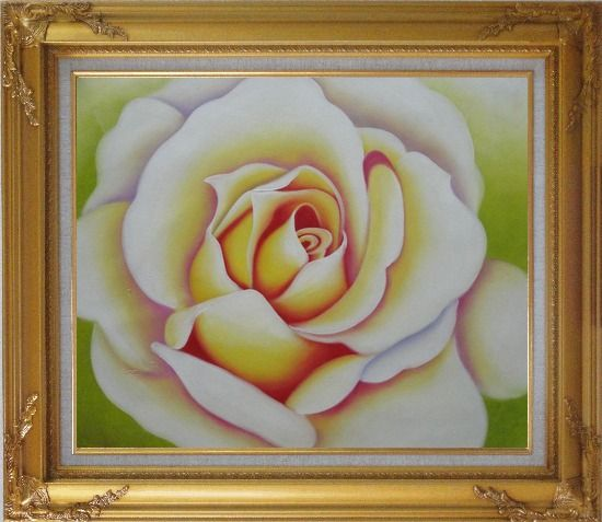 Framed  Pink Rose Bud Oil Painting Flower Naturalism Gold Wood Frame with Deco Corners 27 x 31 Inches
