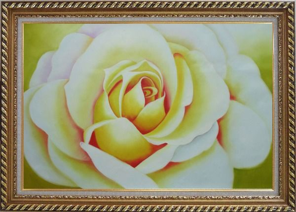 Framed  Pink Rose Bud Oil Painting Flower Naturalism Exquisite Gold Wood Frame 30 x 42 Inches
