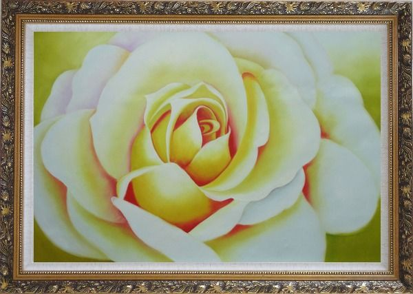 Framed  Pink Rose Bud Oil Painting Flower Naturalism Ornate Antique Dark Gold Wood Frame 30 x 42 Inches
