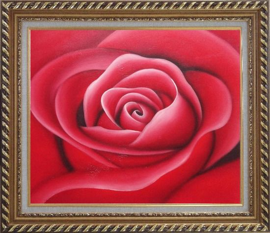 Framed The Beauty of Red Rose Bud Oil Painting Flower Decorative Exquisite Gold Wood Frame 26 x 30 Inches