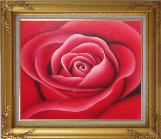 Framed The Beauty of Red Rose Bud Oil Painting Flower Decorative Gold Wood Frame with Deco Corners 27 x 31 Inches