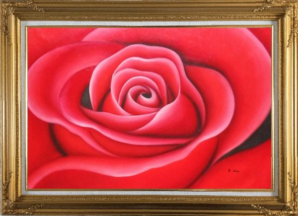 Framed The Beauty of Red Rose Bud Oil Painting Flower Decorative Gold Wood Frame with Deco Corners 31 x 43 Inches