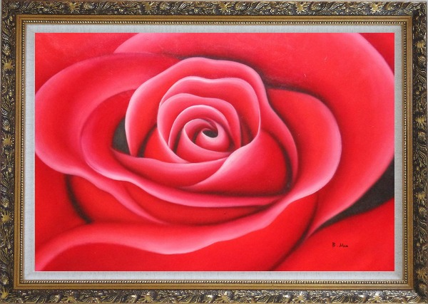 Framed The Beauty of Red Rose Bud Oil Painting Flower Decorative Ornate Antique Dark Gold Wood Frame 30 x 42 Inches
