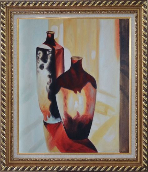 Framed Two Glass Vases Oil Painting Still Life Decorative Exquisite Gold Wood Frame 30 x 26 Inches