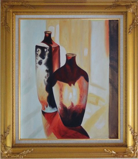 Framed Two Glass Vases Oil Painting Still Life Decorative Gold Wood Frame with Deco Corners 31 x 27 Inches