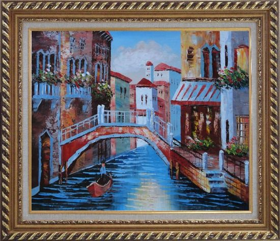 Framed Gondolas in Canal of Venice, Italy Oil Painting Naturalism Exquisite Gold Wood Frame 26 x 30 Inches