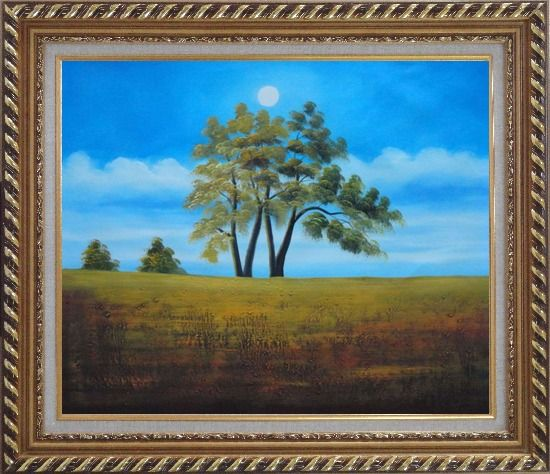 Framed Trees Under Beautiful Blue Sky Oil Painting Landscape Naturalism Exquisite Gold Wood Frame 26 x 30 Inches