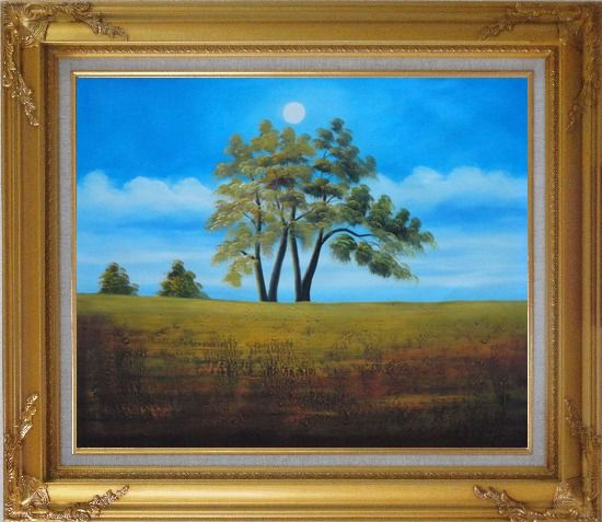 Framed Trees Under Beautiful Blue Sky Oil Painting Landscape Naturalism Gold Wood Frame with Deco Corners 27 x 31 Inches