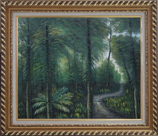 Framed Small Quiet Trail in a Green Forest Oil Painting Landscape Tree Naturalism Exquisite Gold Wood Frame 26 x 30 Inches