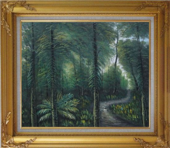 Framed Small Quiet Trail in a Green Forest Oil Painting Landscape Tree Naturalism Gold Wood Frame with Deco Corners 27 x 31 Inches